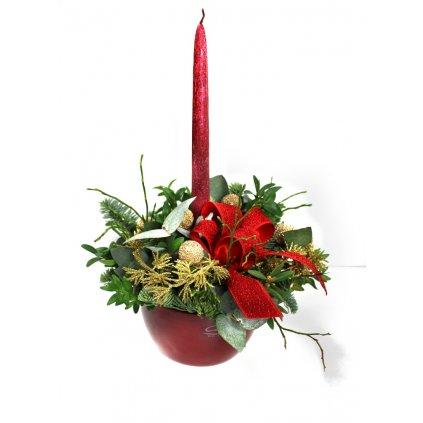 Červený vánoční svícen