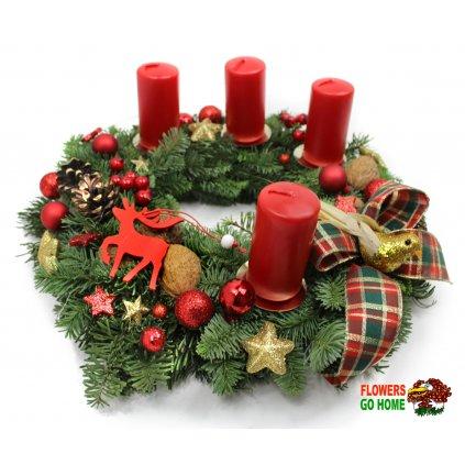 Adventní věnec červené svíčky