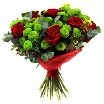 Kytice růží s červenou manžetou