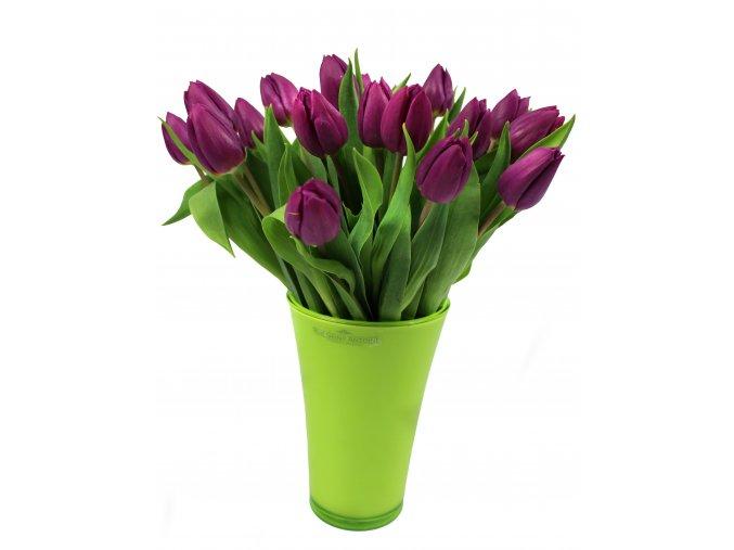 fialové tulipány se zelenou vázou