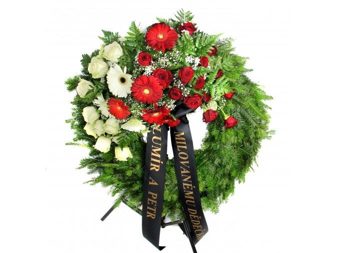 Smuteční věnec růže a gerbery