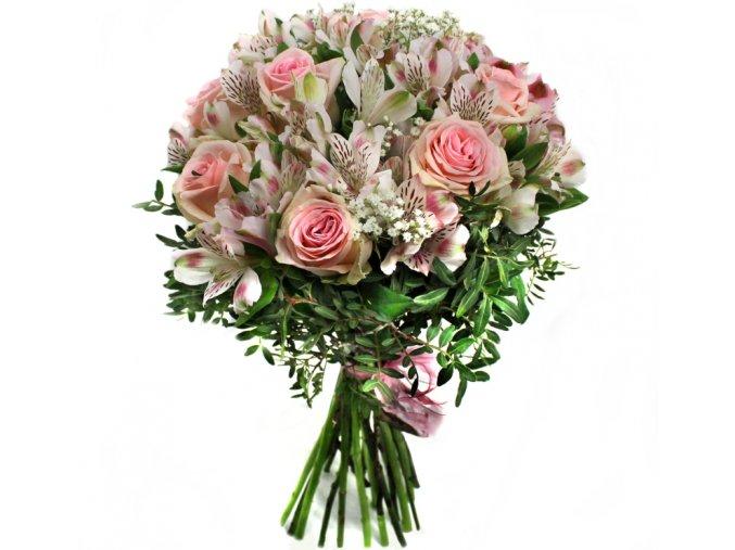 Kytice růží a alstromerií