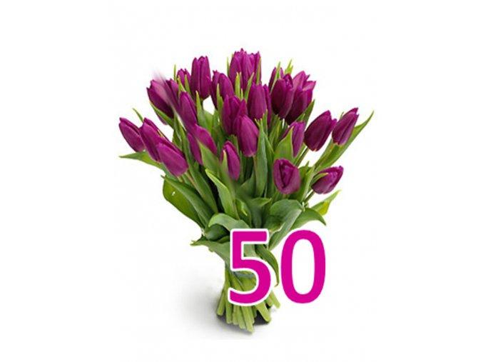 Kytice 50 fialových tulipánů