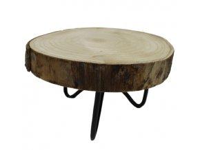 Dřevěný koláč, kovový podstavec