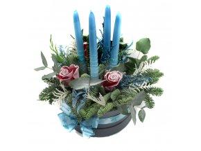 Vánoční svícen modrý