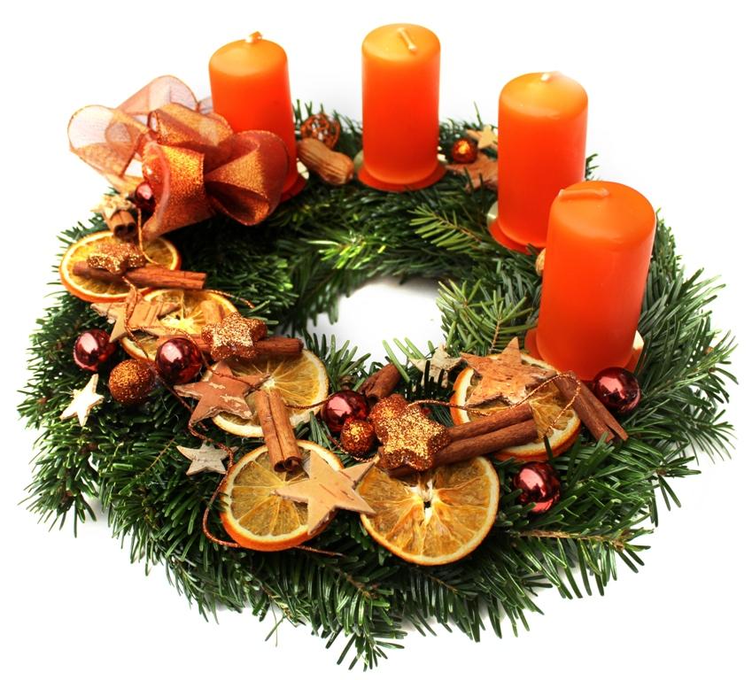 Oranžový adventní věnec