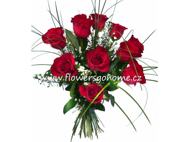 Kytice červených růží Velikost: 9 ks