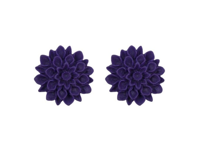 plum lila flowerski barevne nausnice