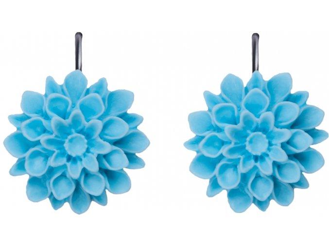 light blue modre visaci nausnice flowerski