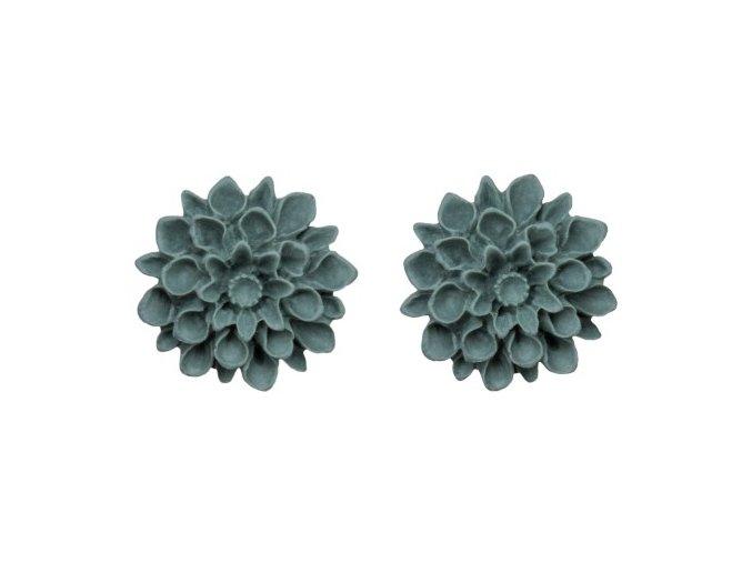 green grey stone flowerski nausnice