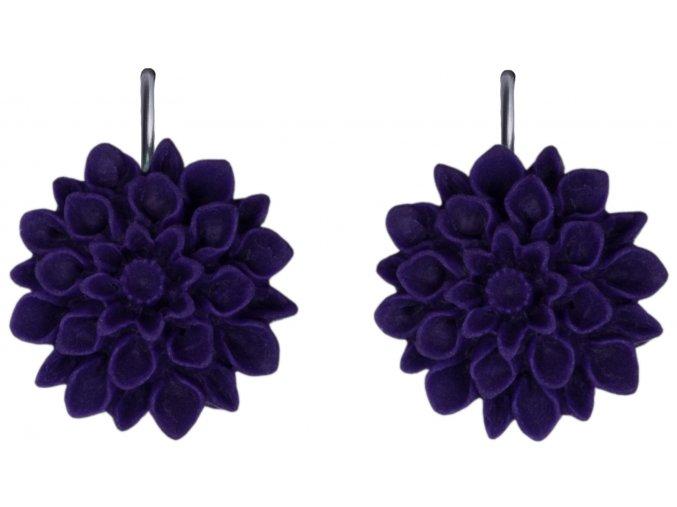 plum lila fialové visaci nausnice flowerski
