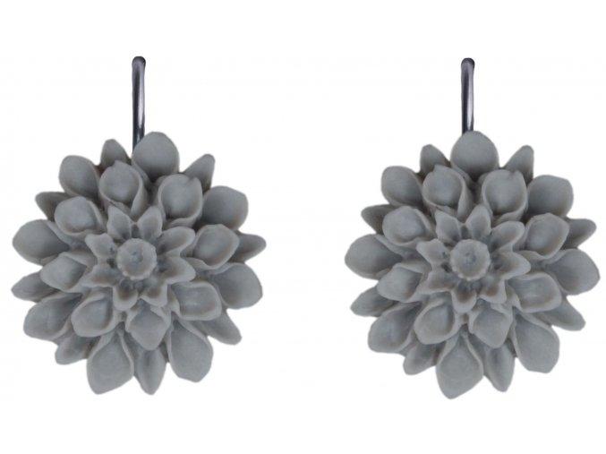 silver grey sede visaci nausnice flowerski
