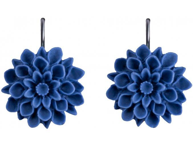 denim blue modre visaci nausnice flowerski