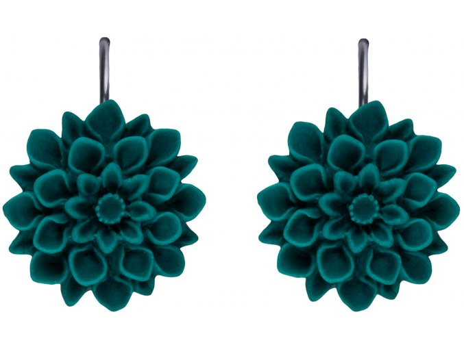 smaragd zelene visaci nausnice flowerski