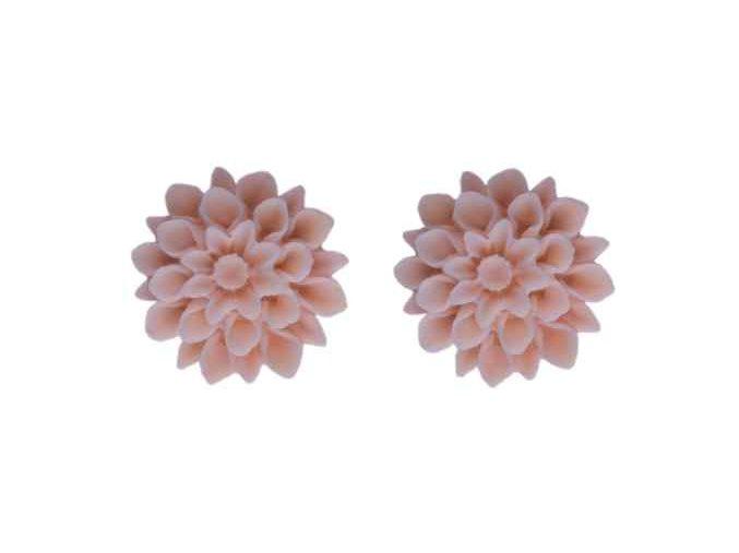 coral pink flowerski nausnice