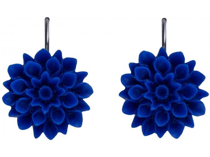 ultramarine blue modre visaci nausnice flowerski