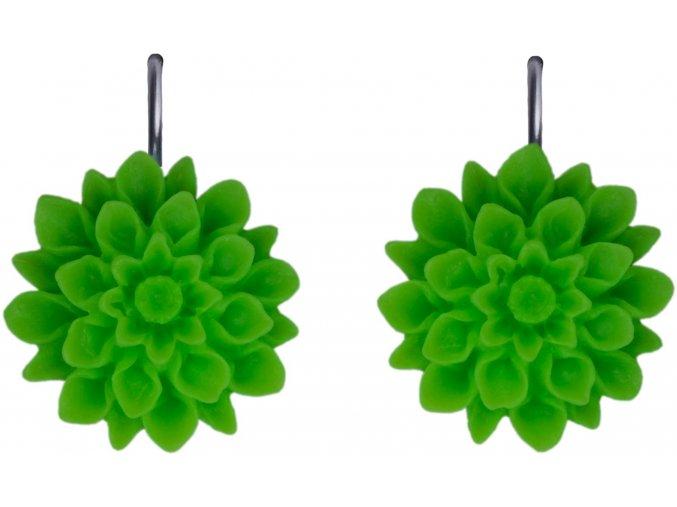 green neon zelene visaci nausnice flowerski