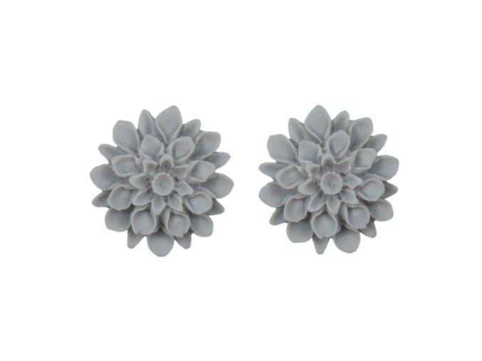 silver grey flowerski barevne nausnice