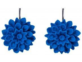 navy blue modre visaci nausnice flowerski