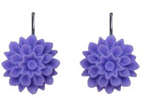 violet fialové visaci nausnice flowerski