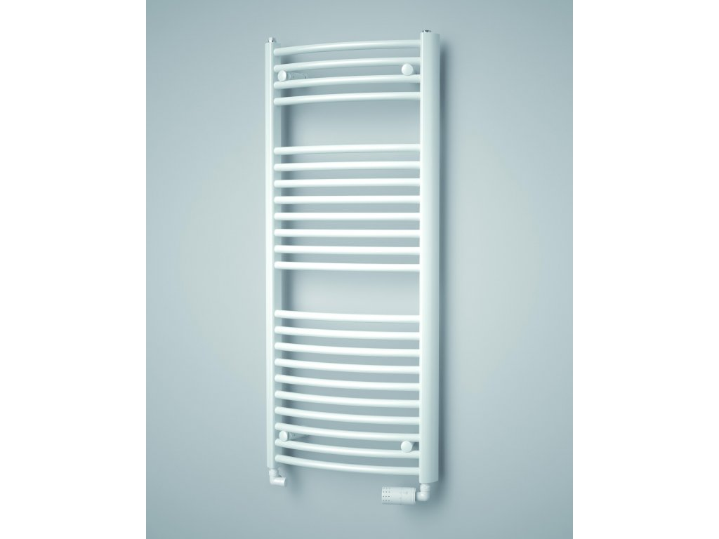 ISAN SPIRA RADIUS koupelnový radiátor, sněhově bílý (RAL 9016)