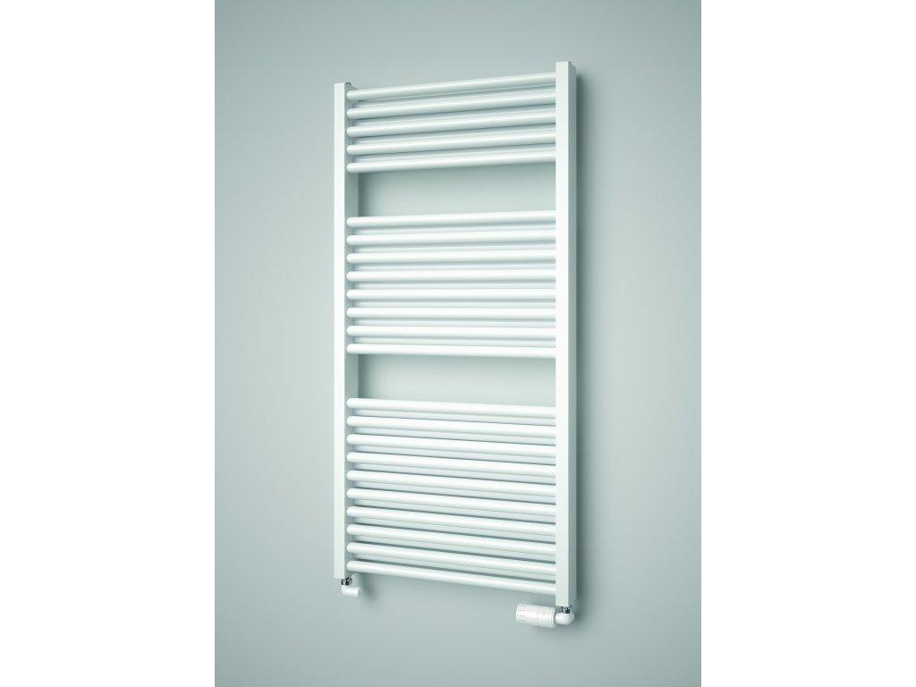 NOVINKA - ISAN DUO elektrický koupelnový, designový radiátor, sněhově bílý (RAL 9016)