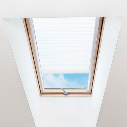 Roleta Plisé na střešní okna, s profilem Decor, Průsvitná, Bílá, P 001 detail