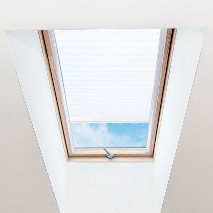 Roleta Plisé na střešní okna, s profilem Classic, Blackout, Bílá žíhaná, P 1-7950 detail