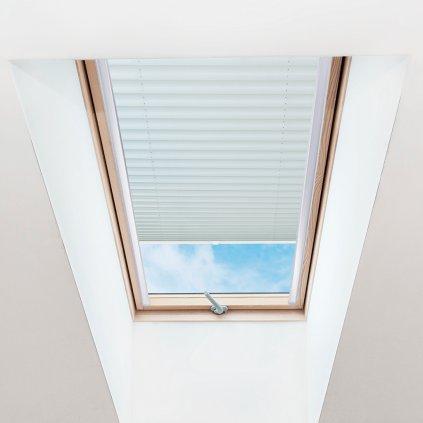 Roleta Plisé na střešní okna, s profilem Decor, Blackout, Béžová žíhaná, P 1-7952 detail