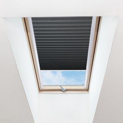 Roleta Plisé na střešní okna, s profilem Decor, Průsvitná, Antracitová, P 026 detail