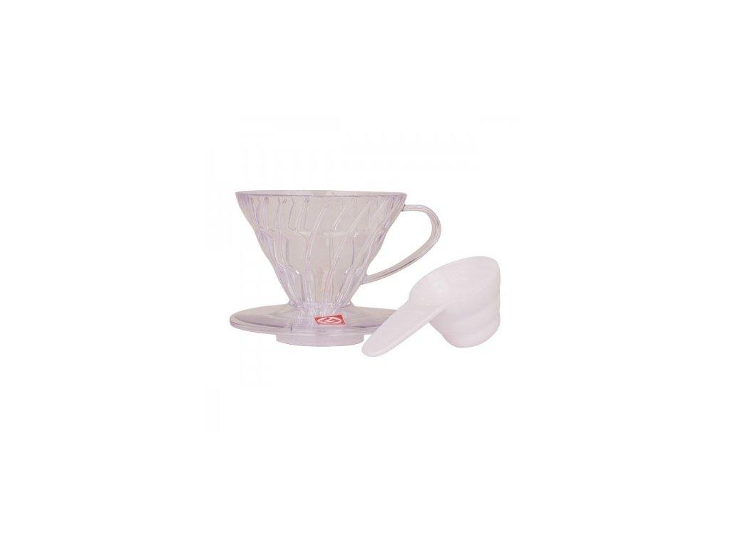 Hario plastový dripper na kávu V60 01 čirý