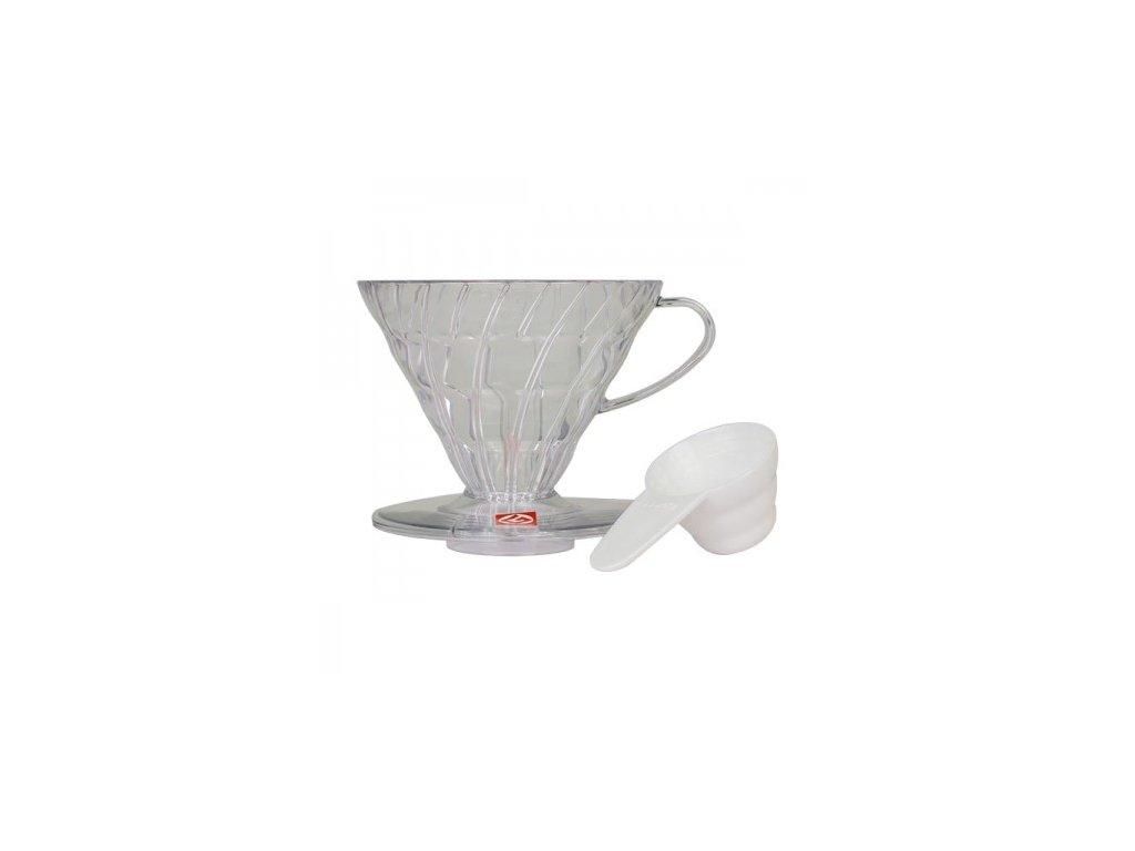 Hario plastový dripper na kávu V60 02 čirý