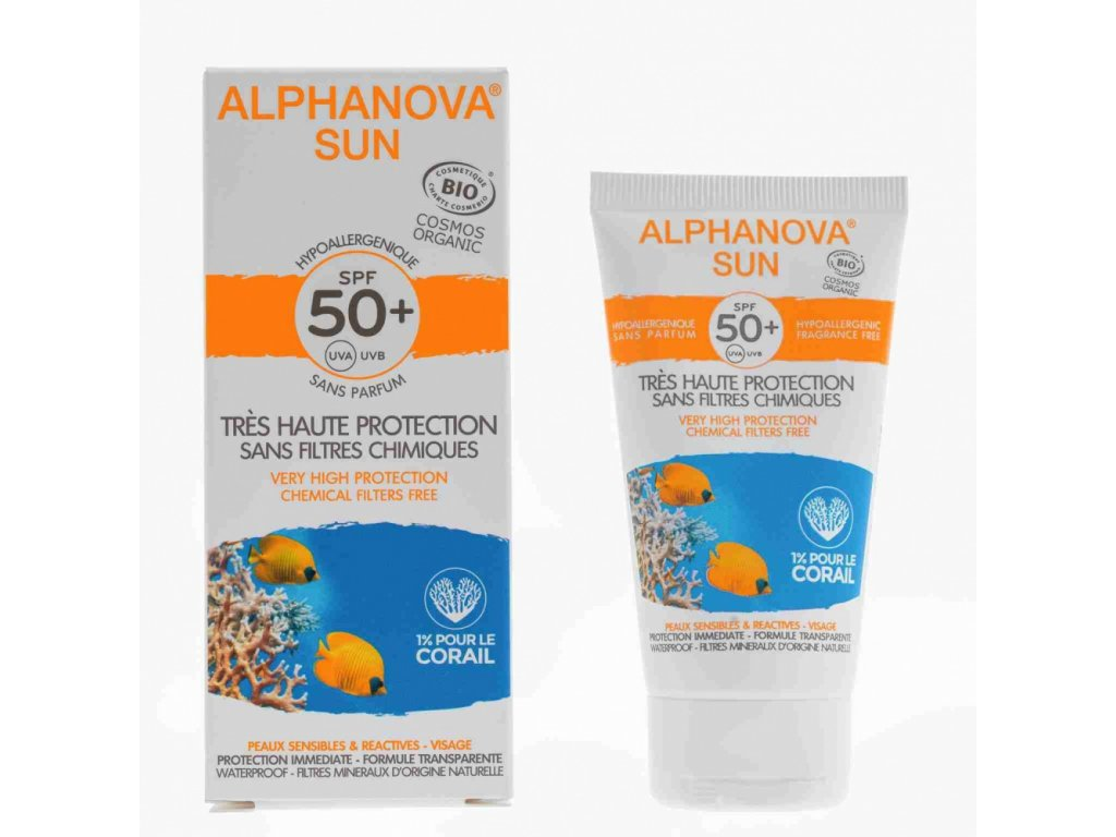 Alphanova SUN Opalovací krém na obličej hypoalergenní SPF 50 50g BIO