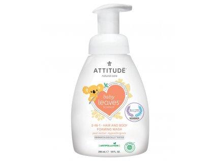 Attitude Baby Leaves Dětské tělové mýdlo a šampon 2v1 s vůni hruškové šťávy s pumpičkou 295 ml