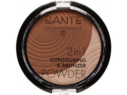 Sante 2v1 Konturovací a bronzující pudr 02 střední-tmavá 9g