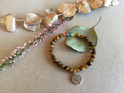 2bears Jewellery Dámský náramek z polodrahokamu Tygří oko s barevnými opály