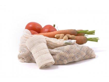 Casa Organica Sada síťových sáčků na potraviny z biobavlny Střední 3 ks