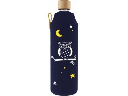 Drinkit Skleněná láhev s neoprénovým obalem Sova 700 ml