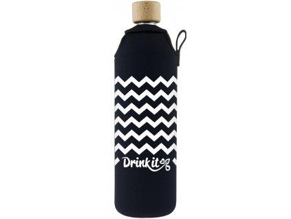 Drinkit Skleněná láhev s neoprénovým obalem Cikcak 700 ml