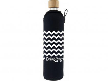 Drinkit Skleněná láhev s neoprénovým obalem Cikcak 500ml