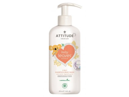 Attitude Baby Leaves Dětské tělové mýdlo a šampon 2v1 s vůni hruškové šťávy s pumpičkou 473 ml