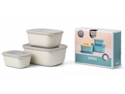 Mepal Set misek Cirqula Rectangular Nordic White 750 +1500 + 3000 ml