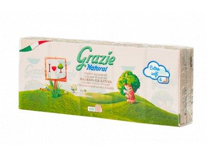 Grazie Natural Ekologické kapesníky 4-vrstvé 10 balení
