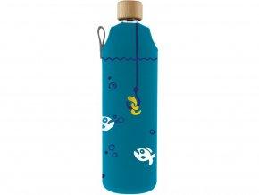 Drinkit Skleněná láhev s neoprénovým obalem Piraně 700 ml
