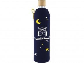 Drinkit Skleněná láhev s neoprénovým obalem Sova 500ml