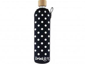 Drinkit Skleněná láhev s neoprénovým obalem Puntík 500 ml