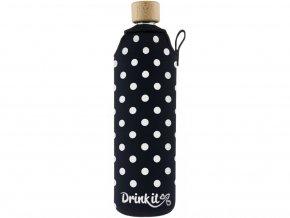 Drinkit Skleněná láhev s neoprénovým obalem Puntík 700 ml