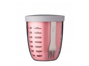 Mepal Svačinový box se sítkem Ellipse Nordic Pink 600 ml