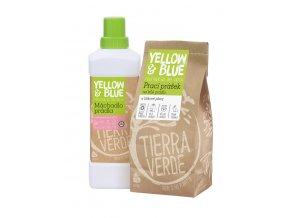 Yellow & Blue Výhodná sada Prací prášek na bílé prádlo a pleny 850 g + Máchadlo prádla 1 l