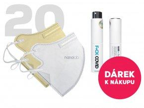 Nanolab 20 ks respirátorů FFP2 bílý a béžový dámský + Dárek kapesní dezinfekce F*CK COVID